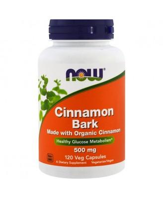 Cinnamon Bark- 500 mg  (120 Vegetarian Capsules) - Now Foods