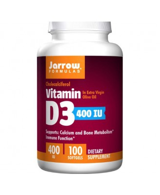 Jarrow Formulas, vitamines D3, cholécalciférol, 400 IU 100 capsules