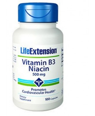 Vitamine B3 Niacine 500 Mg -100 Gélules - Life Extension