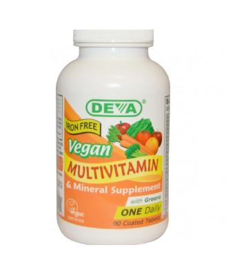 Deva, Supplément de multivitamine et de minéraux, fer libre, Vegan, 90 comprimés