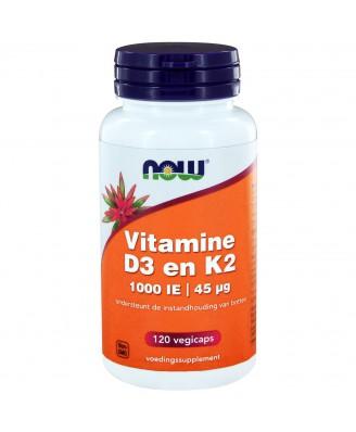 Vitamine D3 en K2 - 1000 IE | 45 µg (120 vegicaps) - NOW Foods