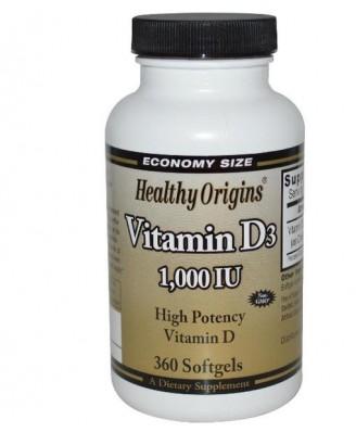Healthy Origins, Vitamin D3, 1000 IU, 360 Softgels