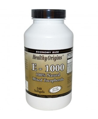 Healthy Origins, E-1000, 100% Natural Mixed Tocopherols, 240 Softgels