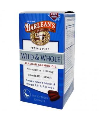 Barlean's, Wild & Whole Alaskan Salmon Oil, 800 mg , 180 Softgels