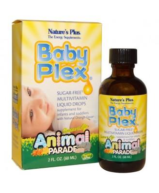 Source of Life - Animal Parade - Baby Plex - Sugar Free Multivitamin Liquid Drops - Natural Orange Flavor (60 ml) - Nature's Plus