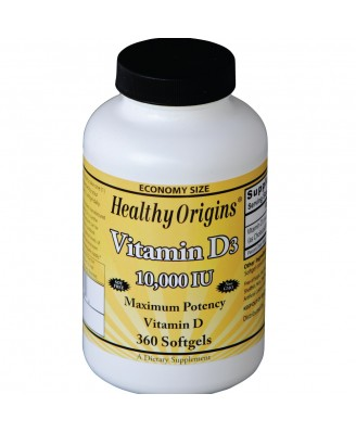 Vitamine D3, 10.000 IE (360 softgels) - Healthy Origins