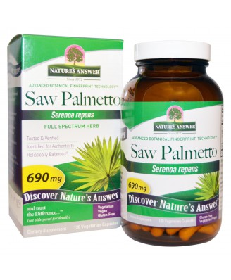 Saw Palmetto, Full Spectrum Herb, 690 mg (120 Veggie Caps) - Nature's Answer