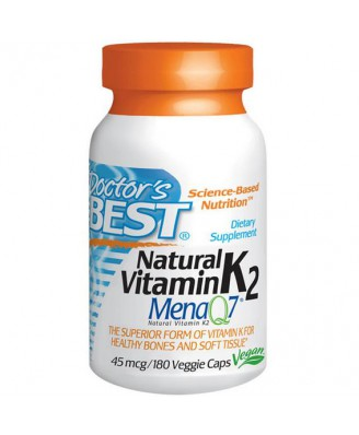 Doctor's Best, Naturel vitamine K2, Mena Q7, 45 mcg, 180 Veggie Caps