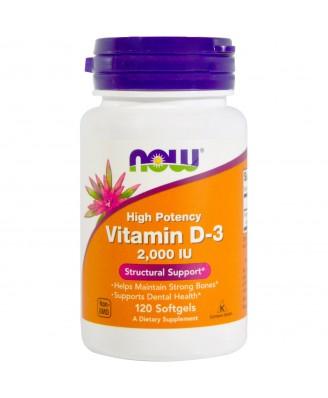 Vitamin D3 2000 IU (120 Softgels) - Now Foods