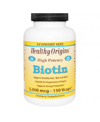 Healthy Origins, Biotin, High Potency, 5000 mcg, 150 Vcaps