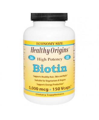 Healthy Origins, Biotin, High Potency, 5,000 mcg, 150 Vcaps
