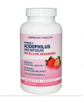 American Health, À croquer Acidophilus et Bifidum, arôme naturel de fraise, 100 plaquettes