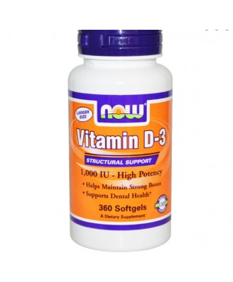 Now Foods, Vitamin D-3, High Potency, 1,000 IU, 360 Softgels
