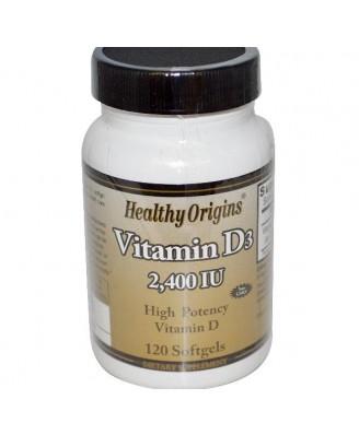 Vitamine D3 2400 IE (120 Softgels) - Healthy Origins
